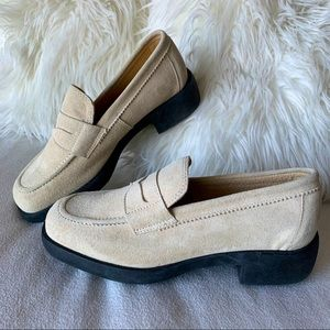 Vintage Valenti Ivory Suede Chunky Heel Loafers